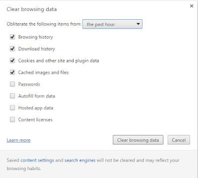 Chrome browsing data window
