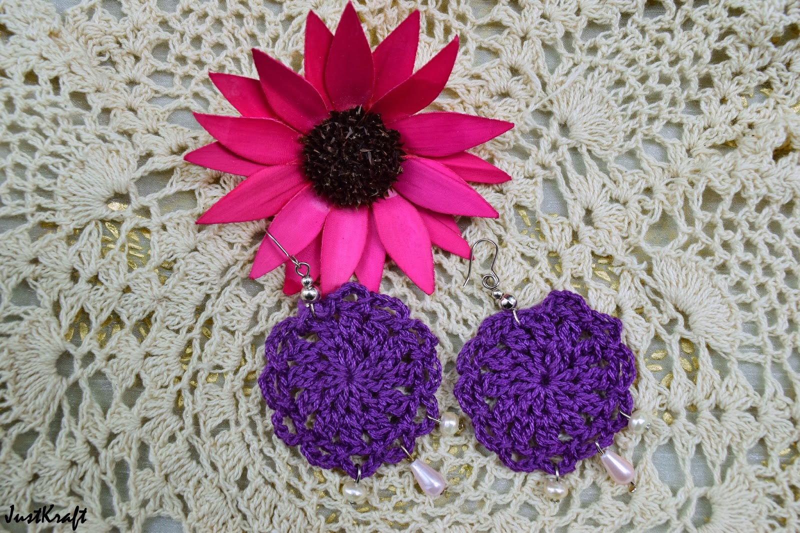 Purple round crochet earring with white drop