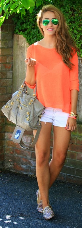 Love this Back Strap Top and Denim Short with Sparkly Shoes | Street Chic