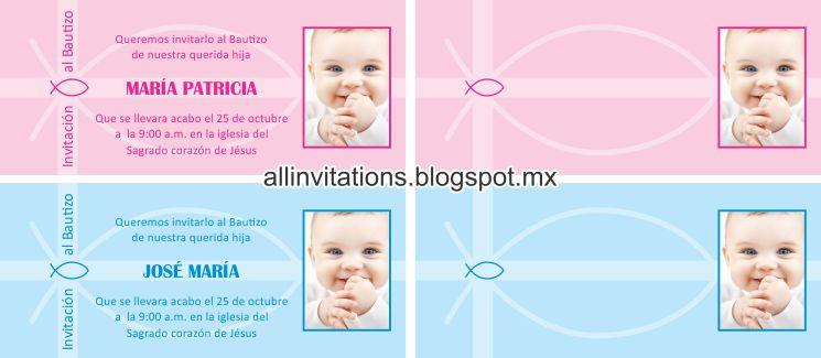 Invitaciones Para Bautizo De Nina