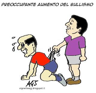 Renzi, bersani, bullismo, riforme, minoranza PD, satira, vignetta
