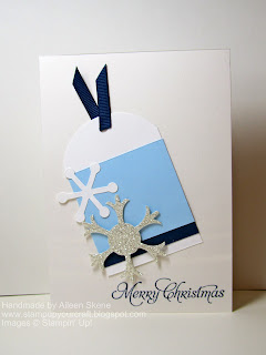 Stampin up Snow Flurry in silver glimmer paper on a tag