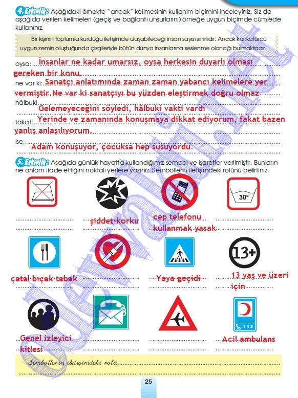... öğretim yılı türkçe dersi çalışma kitabı cevapları meb