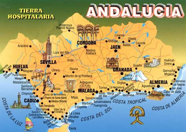 Carte Geographique Andalousie.Carte Region Malaga Espagne Effegetangesj
