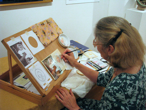 Jenny Brooks Demonstrating How A Portrait Miniature Is Painted
