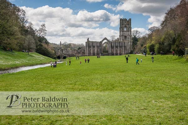 Fountains Abbey with visitors