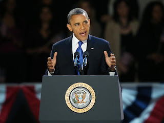 Barack Obama delivers his victory speech 