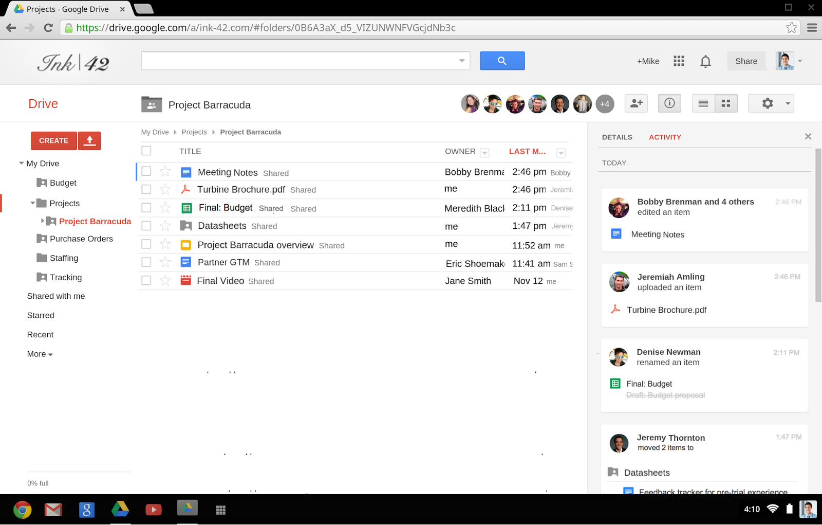 Google Drive Activity Stream