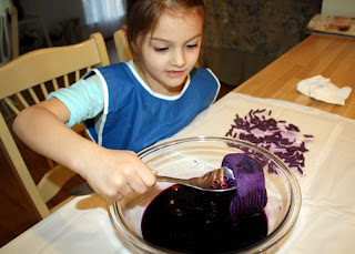 The Phoenicians crushed murex shells to create the purple dye they were famous for. I boiled down a head of red cabbage to achieve a similar effect. Tessa dyed pasta and a pair of socks. We were surprised how pretty the shade of purple turned out. Tessa was enthralled with the entire process and wanted to create more colors of dye from other vegetables.