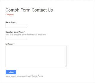 contoh formulir online dengan google form