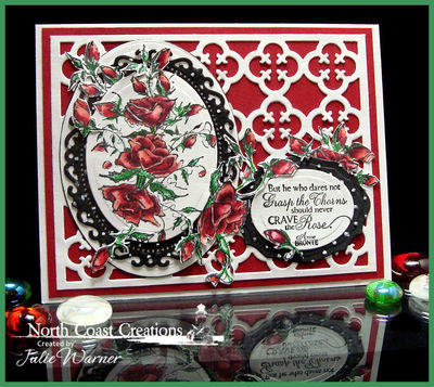 Stamps - North Coast Creations Crave the Rose, ODBD Custom Quatrefoil Pattern Die, ODBD Custom Elegant Ovals Die