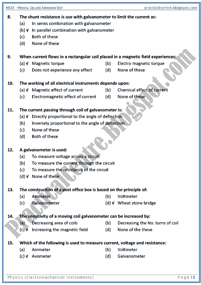 mcat-physics-electromechanical-instruments-mcqs-for-medical-college-admission-test