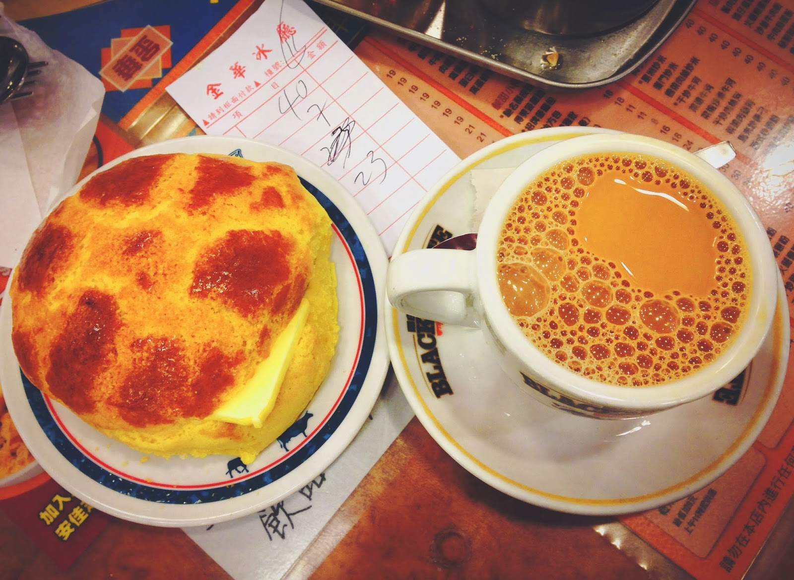 Kum Wah Cafe Hong Kong Polo Bun and Milk Tea