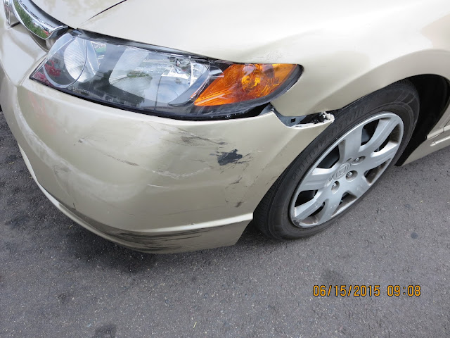 2008 Honda Civic with damage to fender, bumper and headlamp prior to repairs