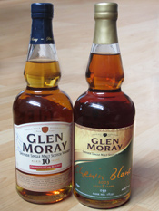 Glen Moray 10 years old Chardonnay Cask and 8 years old Chenin Blanc Cask Whiskies