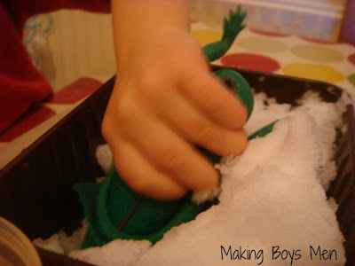 Sensory play with snow and water beads