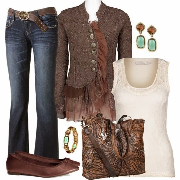 Stylish jeans, brown jacket, off-white blouse, adorable handbag and shoes for fall