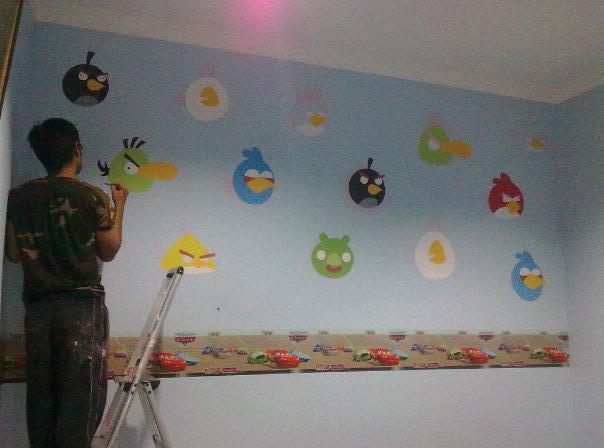 Lukis dinding ib4 airbrush angry birds design for Mural untuk cafe