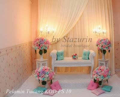 Pelamin Pertunangan dengan Tema Warna Pastel Lembut Mint Pink Layari