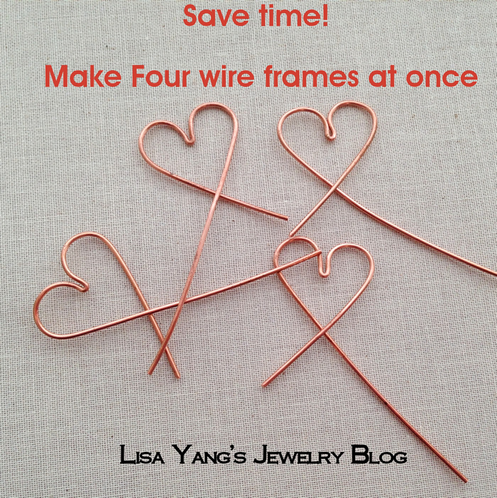 This is a great technique to make four wire jewelry frames (or earwires) at once and have them all match.