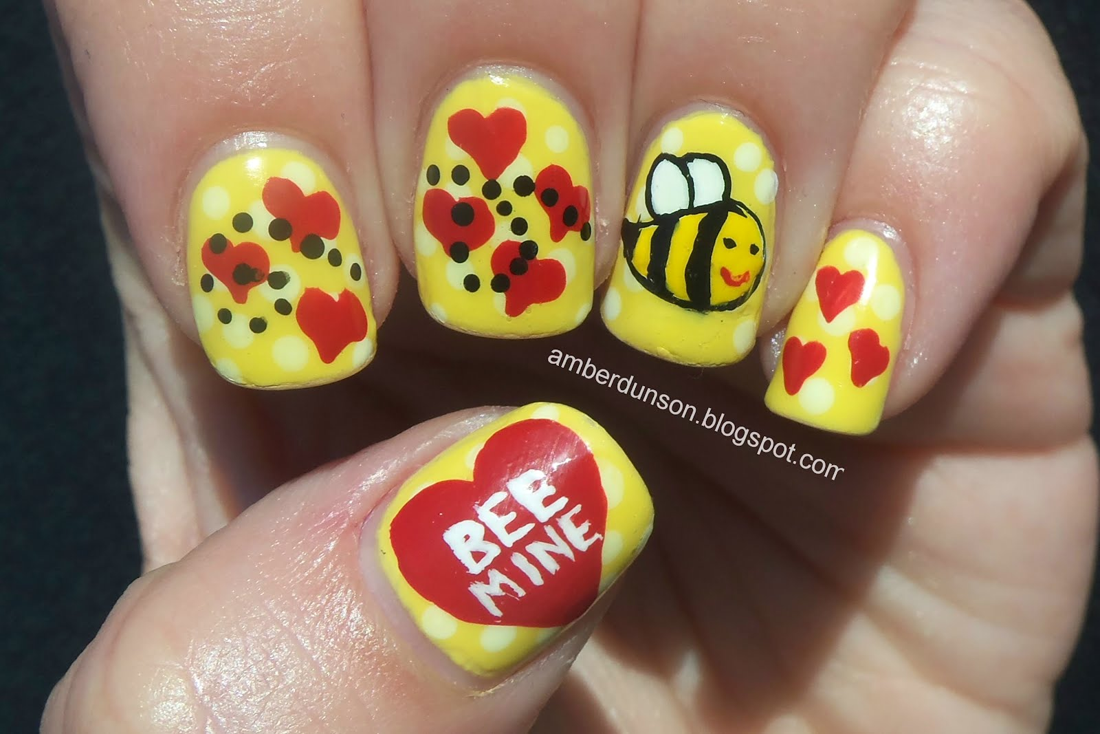 Amber did it bee mine today i have some valentine nail art to share that i did for a nail art contest i really really love this design it came out better than i imagined it prinsesfo Choice Image