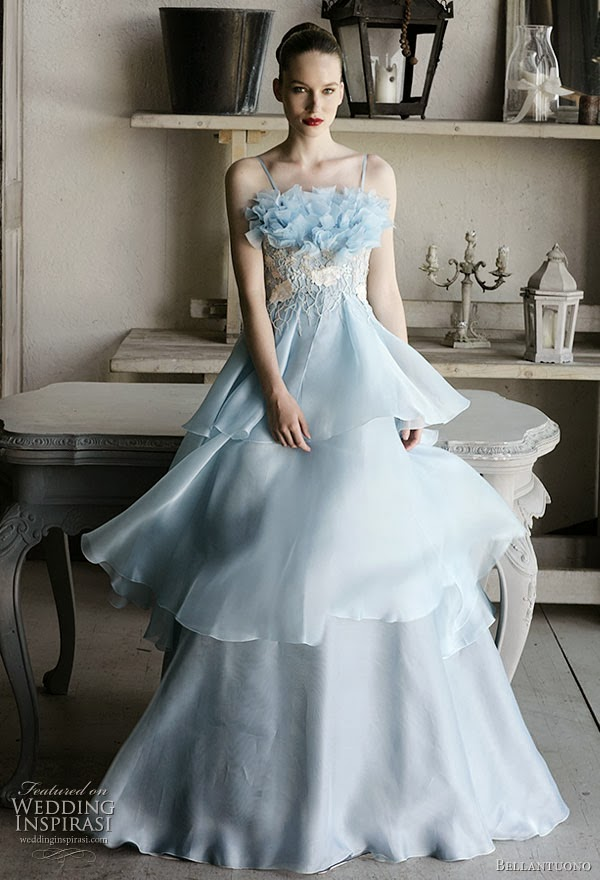 Dayeong restofus light blue wedding dress for Light blue and white wedding dresses