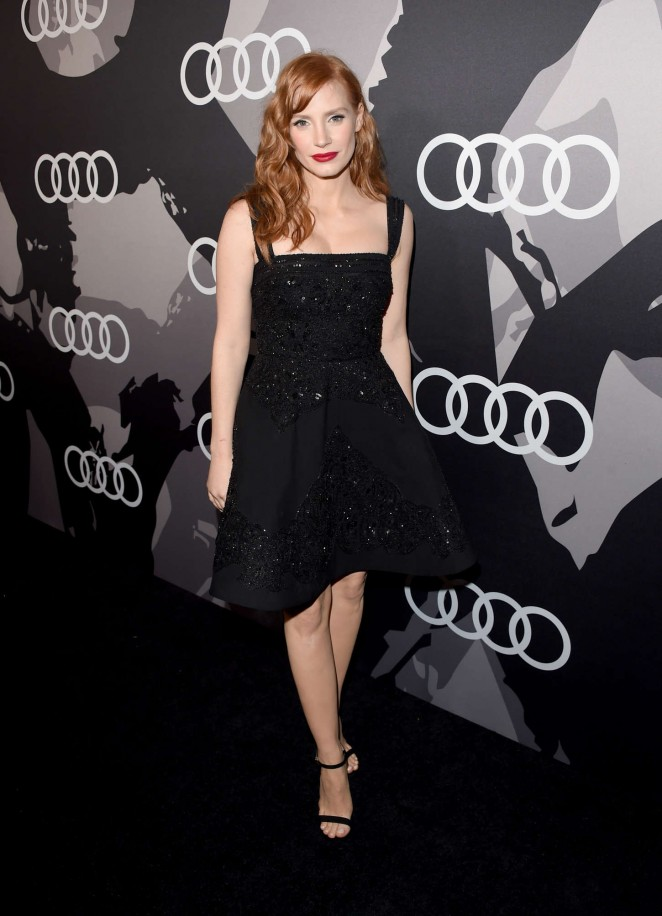 Jessica Chastain in an embellished Elie Saab dress at Audi's 2015 Golden Globes Celebration in LA