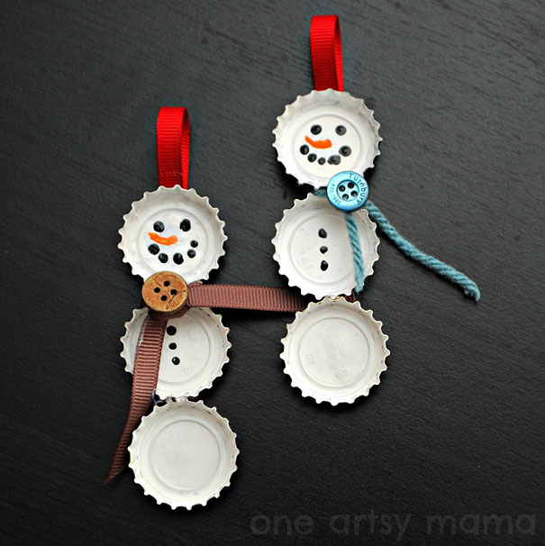 DIY Bottle Cap Christmas Ornaments