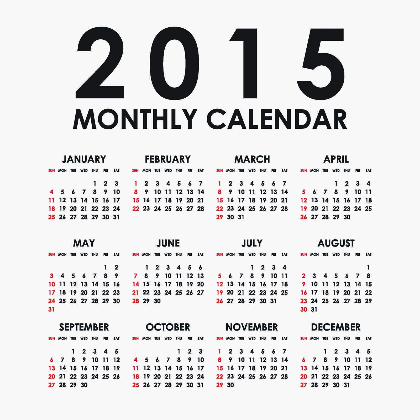 2015 Monthly Calendar Vector : カレンダー 2015 年間 無料 : カレンダー