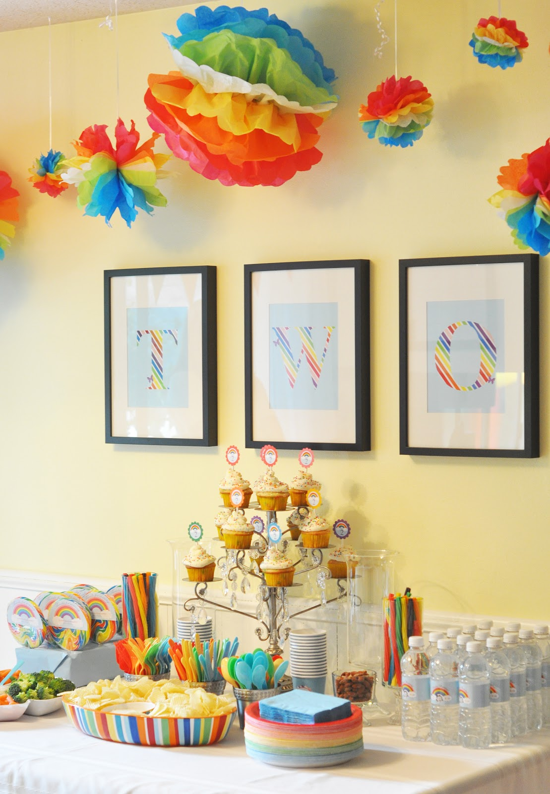 Craftily ever after annalise 39 s rainbow birthday party for Home decorations for birthday party