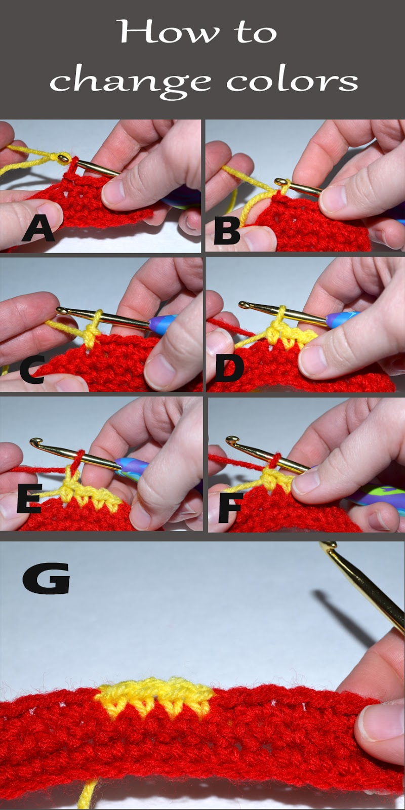 Crocheting How To Change Colors : Pull the new color through the loop and tighten up both colors ...
