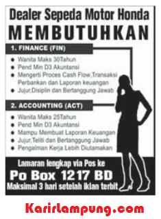 Lowongan Finance & Accounting Dealer Sepeda Motor Honda di Lampung