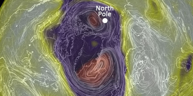 Freak storm pushes North Pole 50 degrees above normal