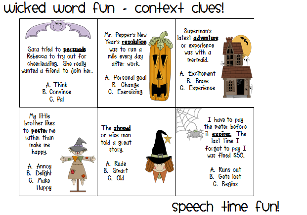 Wicked Word Fun Context Clues – Context Clues Worksheets Multiple Choice