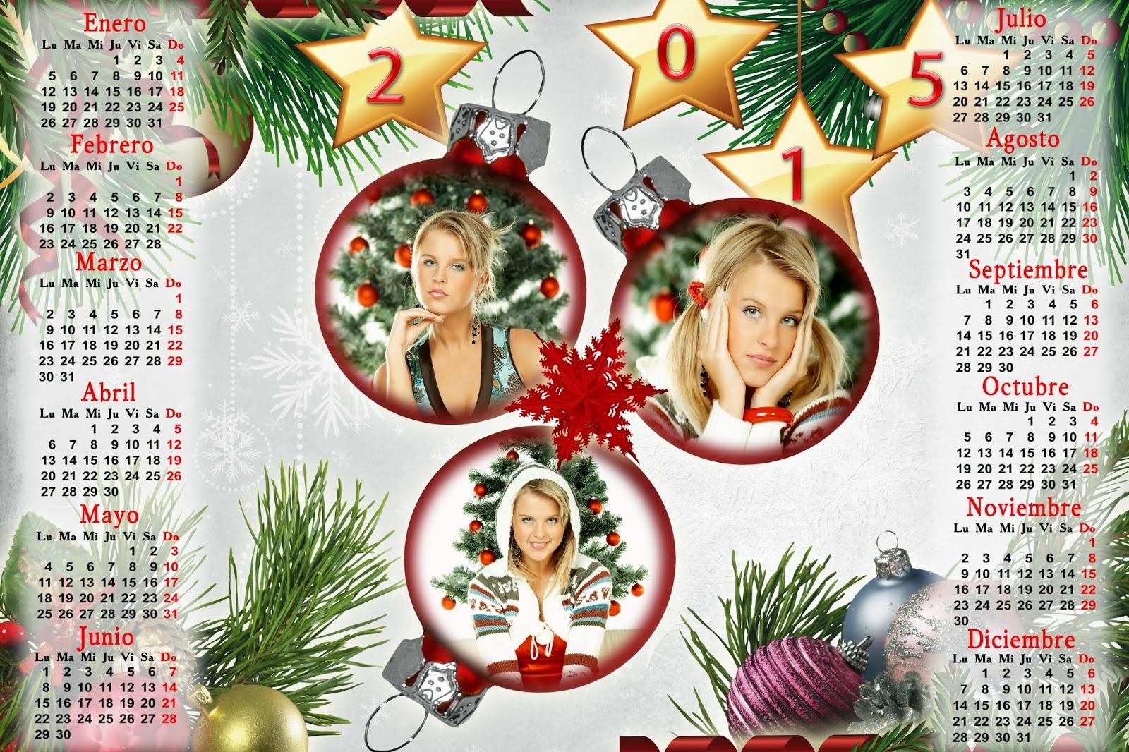 Calendarios para Photoshop Calendario para el 2015 de Navidad para