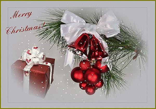 Christmas card with bells, baubles, silk bows-http://colormagicphotography.com