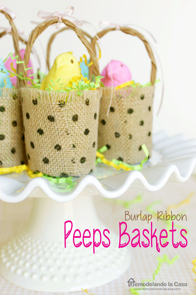 Peeps baskets on cake plate for Easter