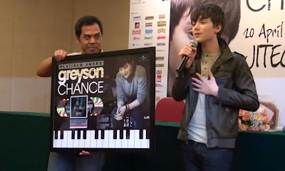 Greyson Chance receives a Platinum award in Jakarta Indonesia