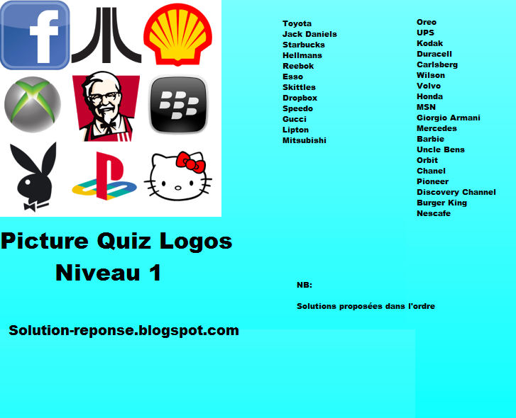 Picture quiz logos solution niveau 1