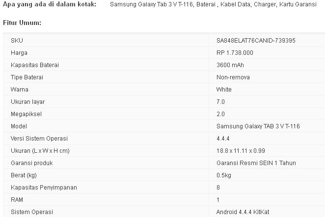 Spesifikasi Samsung Galaxy Tab 3V
