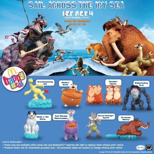 mcdonalds happy meal ice age 4 continental drift toys