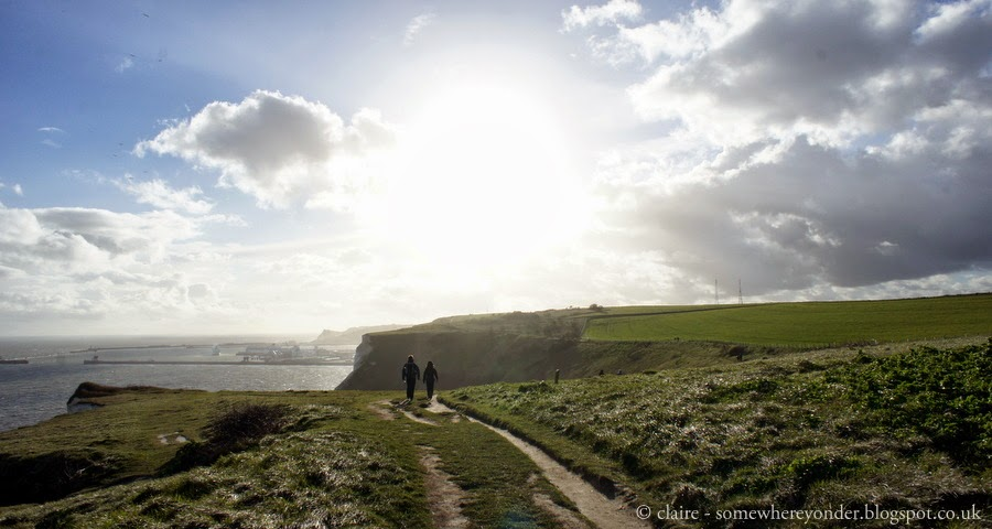Walking into the setting sun - the White Cliffs of Dover