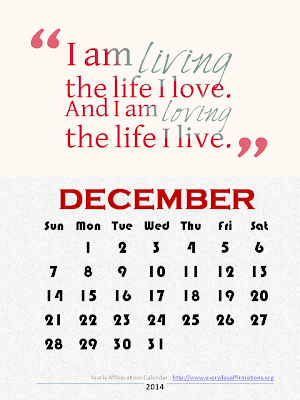 Yearly Affirmations Calendar 2014