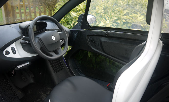 Renault Twizy interior is jet-wash waterproof