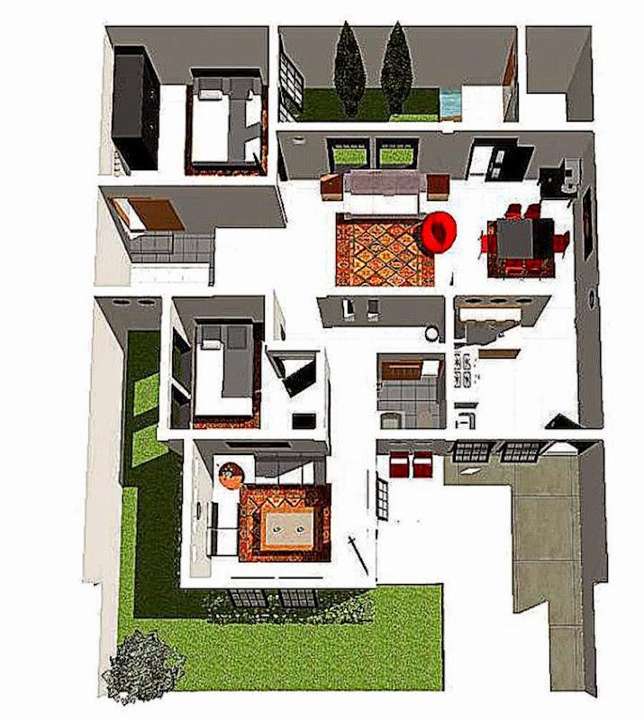 Denah Rumah Minimalis Sederhana Bentuk L  Gambar Desain Properti