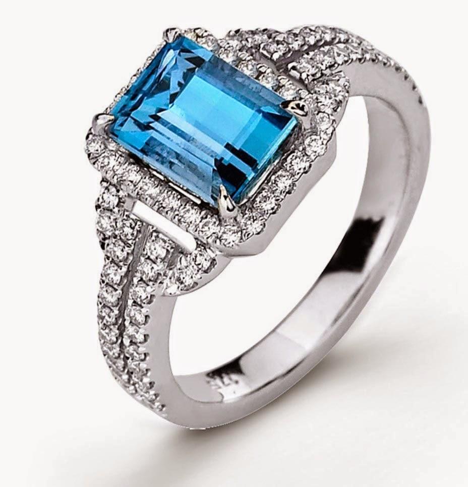 Aquamarine Diamond Wedding Engagement Rings Design Pictures