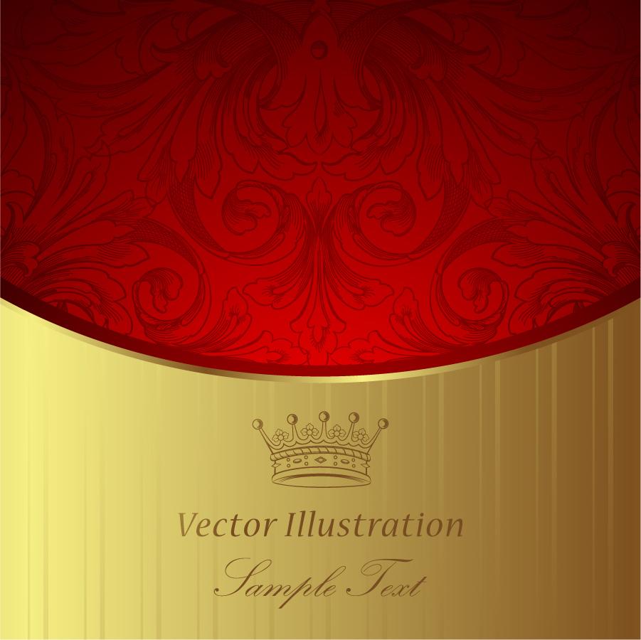 金と赤の対比がゴージャスな背景 gorgeous classic pattern background イラスト素材
