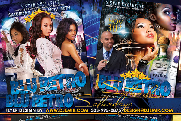 Blue Retro 5 Star Saturdays Flyer Design