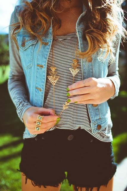 Jeans coat, lined shirt and black shorts for summers