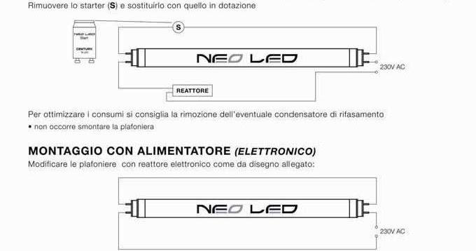 Schema Collegamento Neon Led Osram : Tocani schema di modifica plafoniere